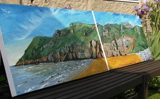 Brean Down Cove - Two acrylic canvases